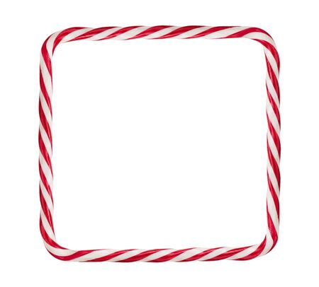 Candy cane, christmas frame isolated on white background with copy space