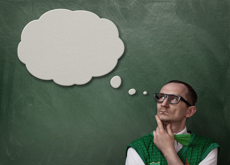Funny nerd retro thinking with copy space Stock Photo