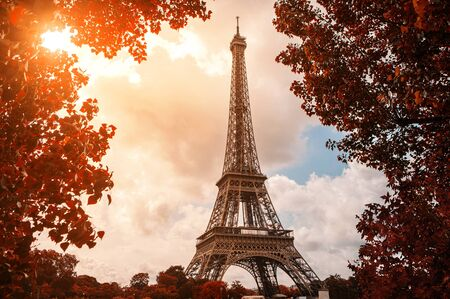 romantic places: Eiffel Tower, Paris Stock Photo