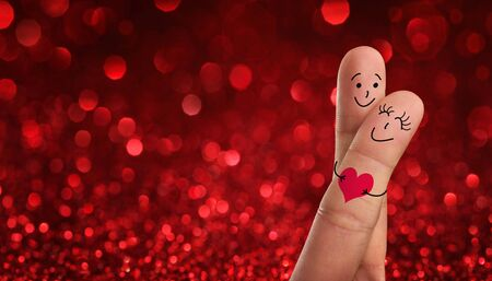 happy couple: Valentines day, wedding concept. Painted fingers pretending happy couple in love with copy space Stock Photo