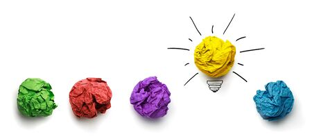 idea bulb: Great idea, standing out of the crowd concept. Crumpled paper as symbol of a light bulb, idea isolated on white background Stock Photo