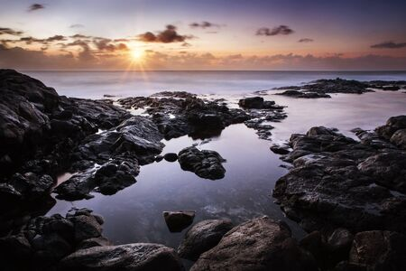 Calm sunset over the Atlantic Ocean, Lanzarote, Playa Blanca