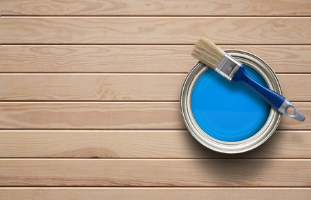 wooden floors: Home improvement, paint can on the clear wooden background with copy space