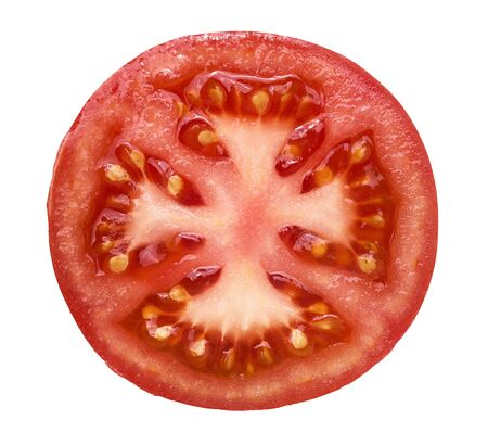 1: High angle view of slice of the fresh, juicy tomato isolated on white background Stock Photo