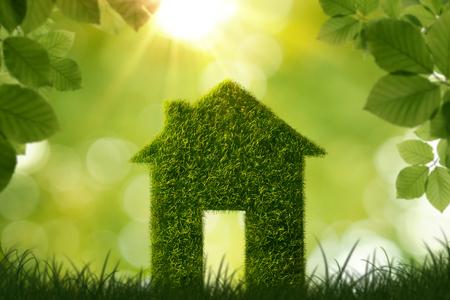 Simbolo della casa di erba su sfondo verde defocused con spazio di copia