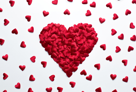 Love, valentines backgrund, heart shape confetti on white background with copy space Stock Photo