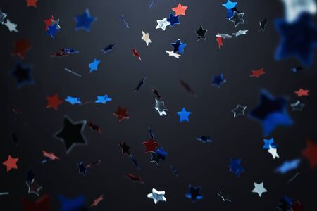 shiny black: Falling down, star shape confetti background with copy space Stock Photo