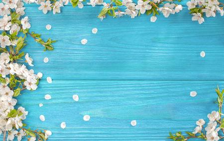 Frühling Hintergrund, Rahmen der weißen Blüte auf alten Holzbrett mit Kopie Raum Lizenzfreie Bilder