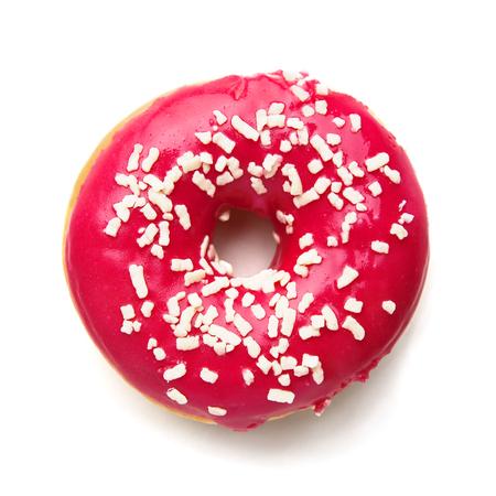 Nahaufnahme von leckeren, runden Donut isoliert auf weißem Hintergrund