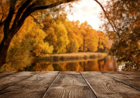 Autumn background, close up of old empty wooden table over the lake with copy space Standard-Bild