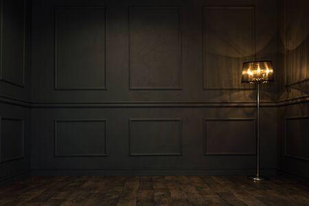 vintage background: Empty elegant vintage room at night with copy space