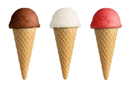 Set of different ice cream cones isolated on whit background