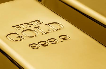 Schließen Sie oben von den Goldbarren mit Kopienraum Standard-Bild