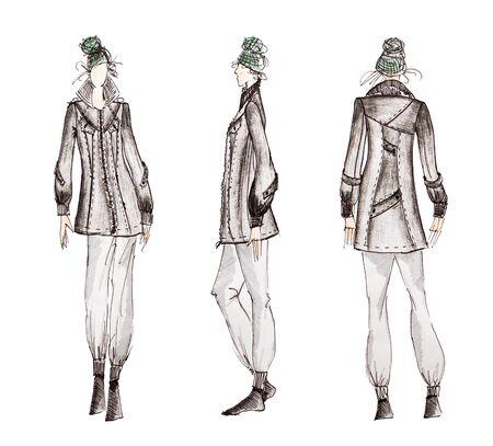 Foto von professionellen Modedesigner Skizzen isoliert auf weißem Hintergrund