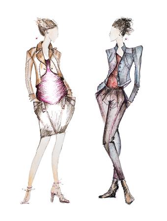 白い背景に分離された専門的なファッション ・ デザイナー スケッチの写真 写真素材