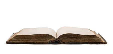 Old opened blank book isolated on white background with copy space