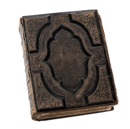 Blank old, antique book isolated on white background with copy space Standard-Bild
