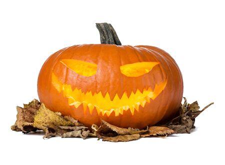 Close up of jack olantern pumpkin isolated on white background