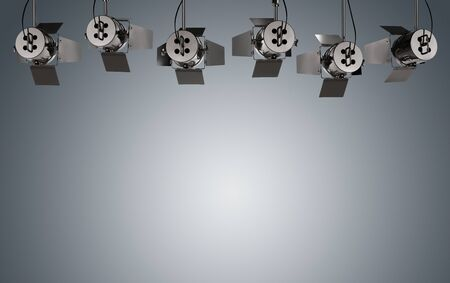 Empty gray background illuminated by stage lamps with copy space Standard-Bild