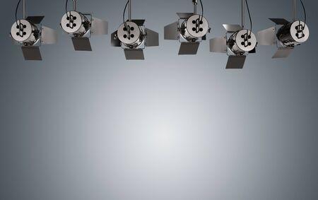 Leerer grauer Hintergrund belichtet durch Stadiumslampen mit Kopienraum