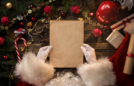 Close up of Santa Claus hands holding blank letter with copy space