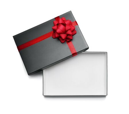 Empty, open gift box isolated on white background with copy space Standard-Bild