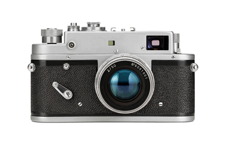 Close up of an old, vintage film camera isolated on white background Standard-Bild