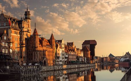 Calm, empty Gdansk old town harobour at the sunrise
