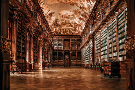 Old, empty library background with copy space Banco de Imagens