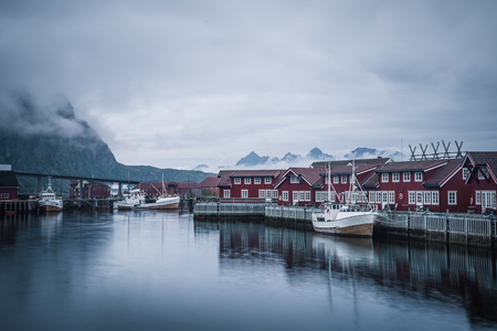 Harbour of the Lofoten village harbour on the rainy day