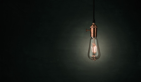 Close up of a vintage, Edison light bulb over darklk background with copy space