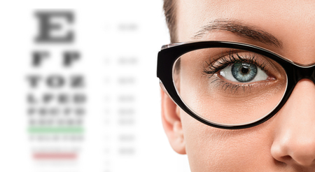 Close up of young woman wearing eyeglasses with eyechart in the background