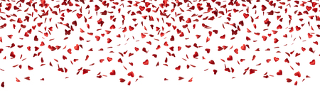Panoramic shot of heart shape, valentines, confetti falling down isolated on white background with copy space