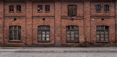 Panoramic old, grunge, abandoned urban industrial background with copy space Stockfoto