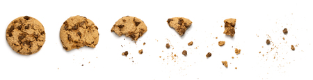 Different stages of eaten cookie isolated on white background Stockfoto