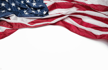 American flag isolated on white background with copy space Stockfoto