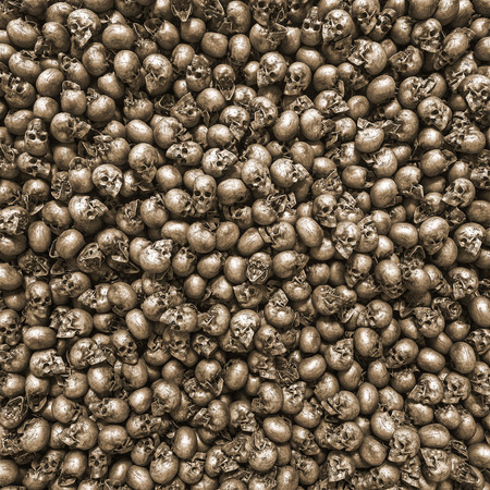 Background, texture made of human skulls with copy space Stockfoto