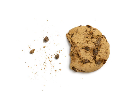 Half eaten cookie isolated on white background