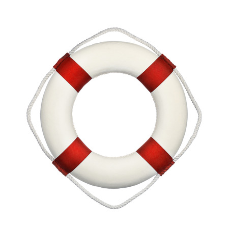 Close up of life buoy isolated on white background
