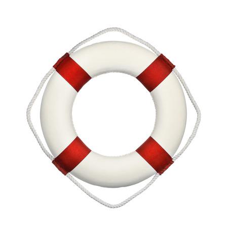 Nahaufnahme von Rettungsring isoliert auf weißem Hintergrund
