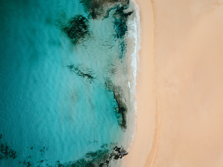 Aerial view of an empty tropical beach with copy space  Stockfoto