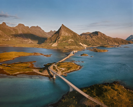Aerial view of Norway landscape, Fredvang bridge at the Lofoten islands at the sunset