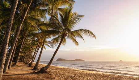 Panoramic view of an empty tropical beach at the sunrise with copy space Stock fotó