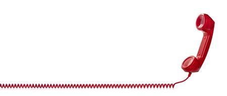 Combiné téléphonique rétro rouge isolé sur fond blanc Banque d'images