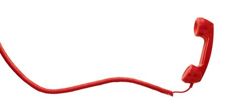 Red vintage telephone handset isolated on white background with copy space Stock fotó
