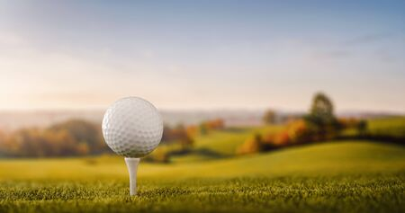 Close up of a golf ball at the golf course tee with copy space Stock fotó