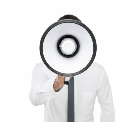 Announcement message, young businessman shouting on the megaphone isolated on white background