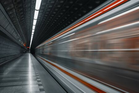 Empty subway station background with copy space Stock Photo