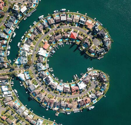 Aerial view of a residental c-shaped island in Sydney, Australia