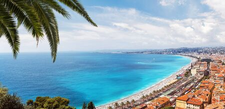 Panoramic, aerial view of Promenade des Anglais, Nice on a sunny day Stock fotó